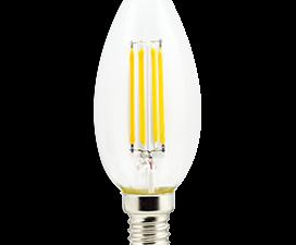 Ecola candle   LED  5,0W  220V E14 2700K 360° filament прозр. нитевидная свеча (Ra 80, 100 Lm/W) 96х