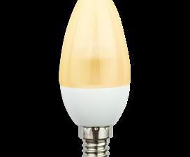 Ecola candle   LED  4.2W 220V E14 золотистая полуматовая свеча искристая пирамида (композит) 98×36