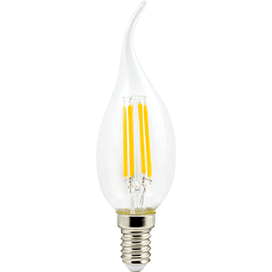 Ecola candle   LED  5,0W  220V E14 2700K 360° filament прозр. нитевидная свеча на ветру (Ra 80, 100