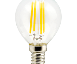Ecola globe   LED  5,0W G45 220V E14 4000K 360° filament прозр. нитевидный шар (Ra 80, 100 Lm/W) 78х