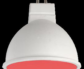 Ecola MR16   LED color  7,0W  220V GU5.3 Red Красный матовое стекло (композит) 47×50