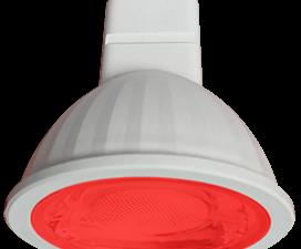 Ecola MR16   LED color  9,0W  220V GU5.3 Red Красный (насыщенный цвет) прозрачное стекло (композит)