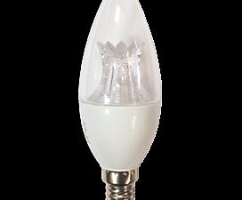 Ecola candle   LED Premium  8,0W 220V  E14 2700K прозрачная свеча  с линзой (композит) 105×37