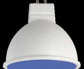 Ecola MR16   LED color  7,0W  220V GU5.3 Blue Синий матовое стекло (композит) 47х50