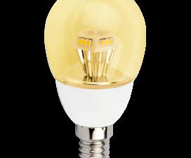 Ecola globe   LED  4.2W G45 220V E14 золотистый прозрачный шар искристая пирамида (композит) 90×45