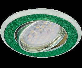 Ecola MR16 DL39S GU5.3 Светильник встр. поворотный Круг под стеклом Изумрудный блеск/Хром 26×94