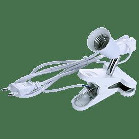 Ecola base Светильник прищепка с вилкой с выключателем — патрон E27 на шарнире 30мм  Белый