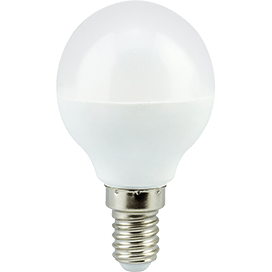 Ecola globe   LED  7.0W G45  220V E14 4000K шар (композит) 77×45