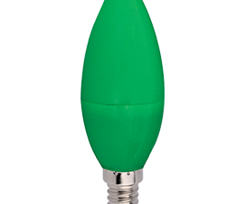 Ecola candle   LED color  6,0W 220V E14 Green свеча Зеленая матовая колба 103×37
