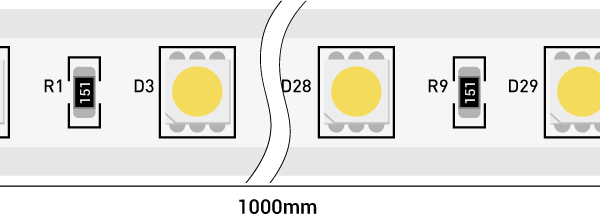 Лента светодиодная 220, SMD5050, 60LED/м, кат  50м, 14,4 Вт/м, IP68, Теплый белый  (2700-3000К Теплый белый)