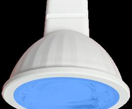 Ecola MR16   LED color  9,0W  220V GU5.3 Blue Синий (насыщенный цвет) прозрачное стекло (композит) 4