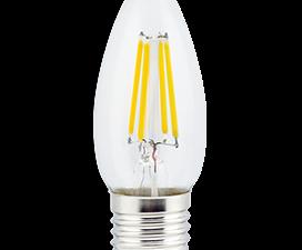 Ecola candle   LED  5,0W  220V E27 2700K 360° filament прозр. нитевидная свеча (Ra 80, 100 Lm/W) 96х