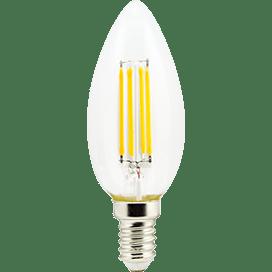 Ecola candle   LED Premium  5,0W  220V E14 2700K 360° filament прозр. нитевидная свеча (Ra 80, 100 L