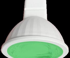 Ecola MR16   LED color  9,0W  220V GU5.3 Green Зеленый (насыщенный цвет) прозрачное стекло (композит