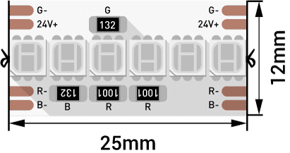 Лента светодиодная LUX, 3838, 240 LED/м, 16,4 Вт/м, 24В, IP33, RGB