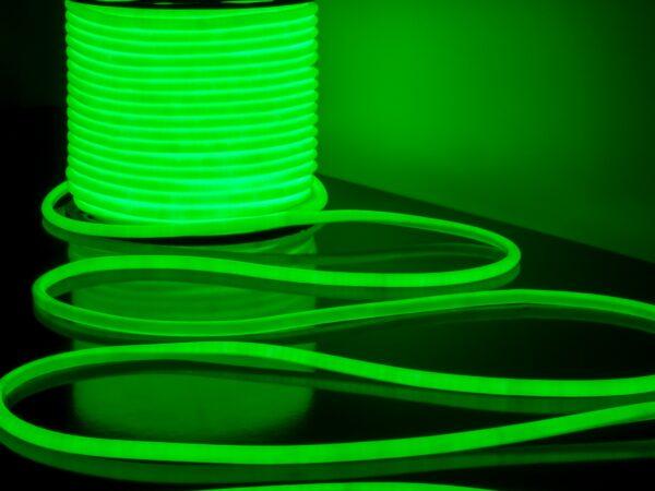 LS003 220V/ Лента светодиодная Гибкий неон 9.6W 144Led 2835 IP67 16mm круглый зеленый, 50 м