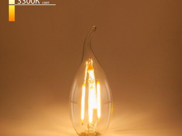 BLE1428/ Светодиодная лампа Свеча на ветру 9W 3300K E14 (CW35 прозрачный)