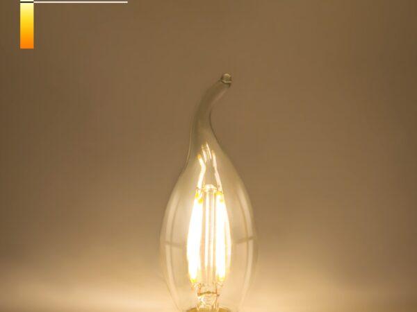 BLE1429/ Светодиодная лампа Свеча на ветру 9W 4200K E14 (CW35 прозрачный)