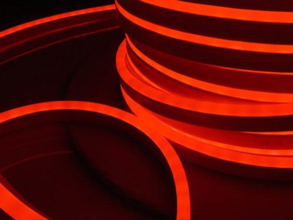 LS001 220V / Лента светодиодная Гибкий неон  9.6W 120Led 2835 IP67 односторонний красный, 50 м