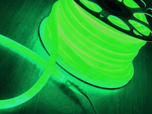 LS002 220V / Лента светодиодная Гибкий неон  9.6W 120Led 2835 IP67 круглый зеленый, 100 м