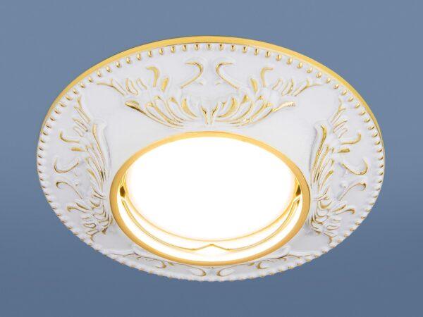 7217 MR16 WHG / Светильник встраиваемый белый/золото