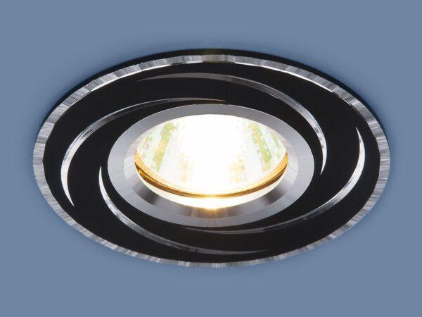 2002 MR16 BK/SL / Светильник встраиваемый черный/серебро