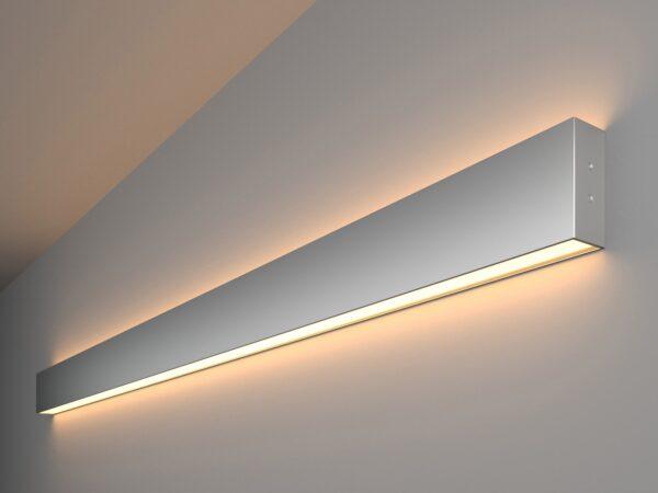 101-100-40-128 / Линейный светодиодный накладной двусторонний светильник 128см 50W 3000K матовое серебро