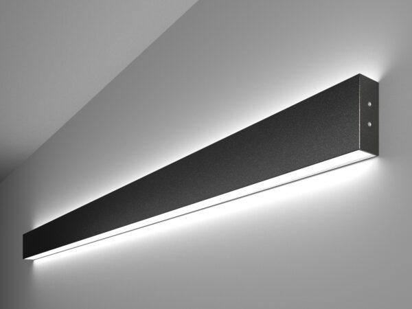 101-100-40-128 / Линейный светодиодный накладной двусторонний светильник 128см 50W 6500K черная шагрень