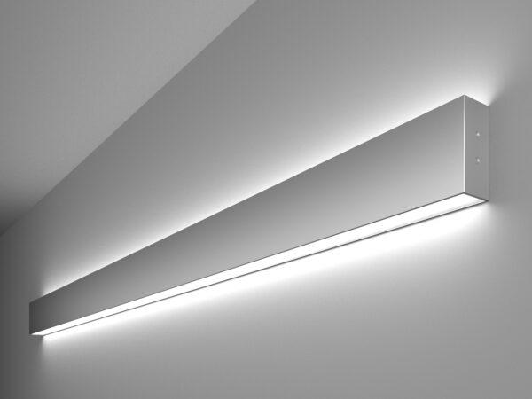 101-100-40-128 / Линейный светодиодный накладной двусторонний светильник 128см 50W 6500K матовое серебро