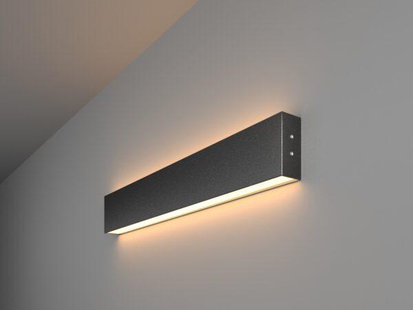 101-100-40-53 / Линейный светодиодный накладной двусторонний светильник 53см 20W 3000K черная шагрень