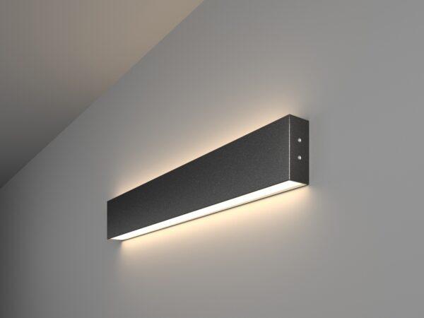 101-100-40-53 / Линейный светодиодный накладной двусторонний светильник 53см 20W 4200K черная шагрень