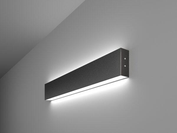 101-100-40-53 / Линейный светодиодный накладной двусторонний светильник 53см 20W 6500K черная шагрень