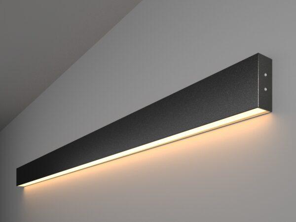 101-100-30-128 / Линейный светодиодный накладной односторонний светильник 128см 25W 3000K черная шагрень