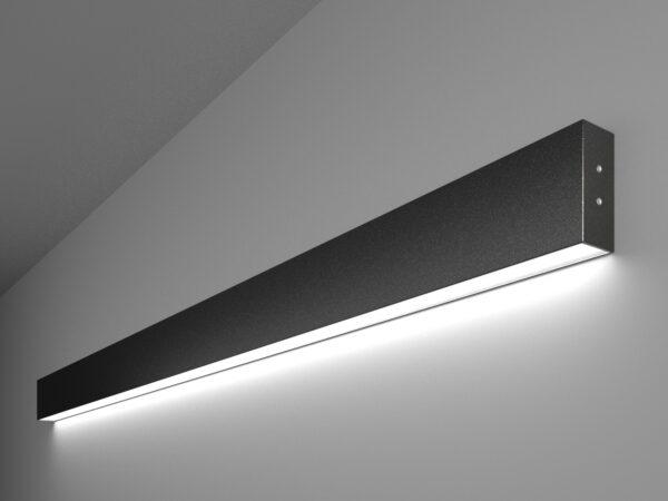 101-100-30-128 / Линейный светодиодный накладной односторонний светильник 128см 25W 6500K черная шагрень