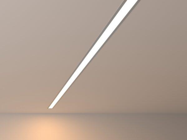 100-300-128 / Линейный светодиодный встраиваемый светильник 128см 25W 3000К матовое серебро
