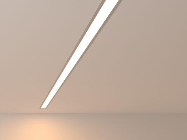 101-300-128 / Линейный светодиодный встраиваемый светильник 128см 25W 3000K матовое серебро