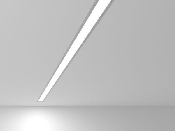 101-300-128 / Линейный светодиодный встраиваемый светильник 128см 25W 6500K матовое серебро