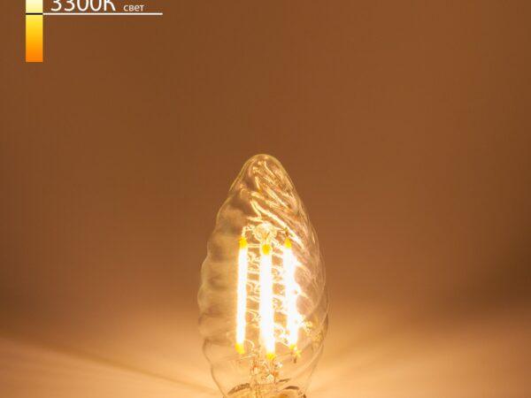 Свеча витая F 7W 3300K E14 прозрачный / Светодиодная лампа BL128