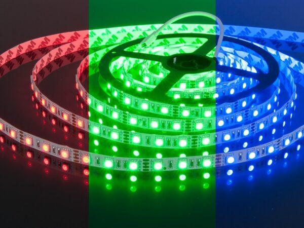 Лента светодиодная 60 LED/м., 14,4W, IP20, мультиколор RGB (5050, 12V, 60 LED/м., 14,4W, IP20, RGB)
