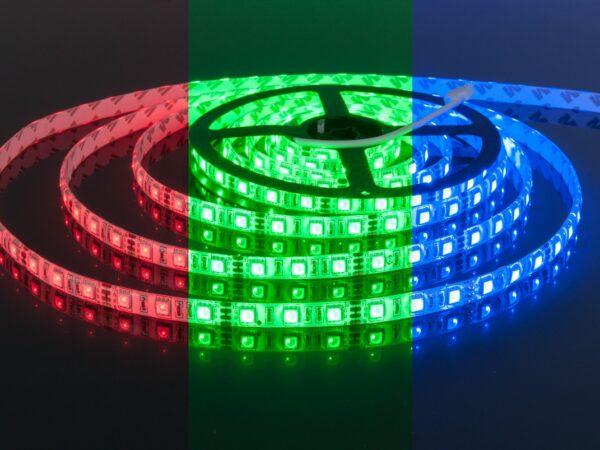 Лента светодиодная 60 LED/м., 14,4W IP65 мультиколор RGB (5050, 12V, 60 LED/м., 14,4W, IP65., RGB)