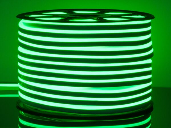 LS001 220V / Лента светодиодная Гибкий неон  9.6W 120Led 2835 IP67 односторонний зеленый, 50 м