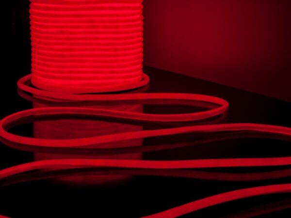 LS003 220V/ Лента светодиодная Гибкий неон 9.6W 144Led 2835 IP67 16mm круглый красный, 50 м