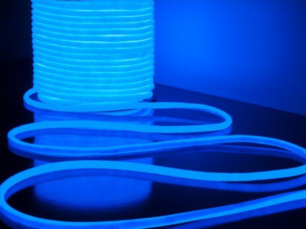 LS003 220V / Лента светодиодная Гибкий неон 9.6W 144Led 2835 IP67 16mm круглый синий, 50 м