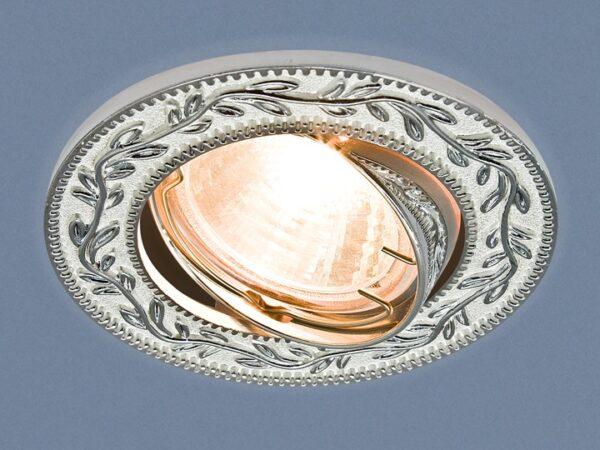 713 MR16 WH/SL / Светильник встраиваемый белый/серебро
