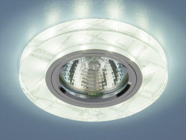 8371 MR16 WH/SL / Светильник встраиваемый белый/серебро