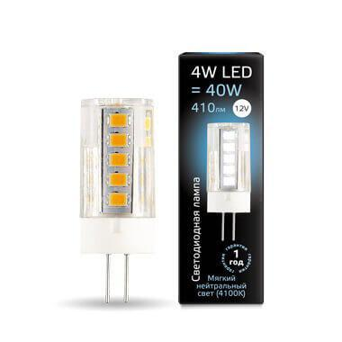 Лампа светодиодная Gauss G4 4W 4100К прозрачная 207307204