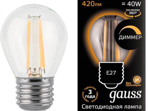 Лампа светодиодная диммируемая Gauss филаментная E27 5W 2700К прозрачная 105802105-D