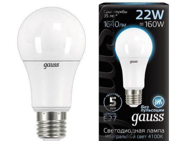 Лампа светодиодная Gauss E27 22W 4100К матовая 102502222