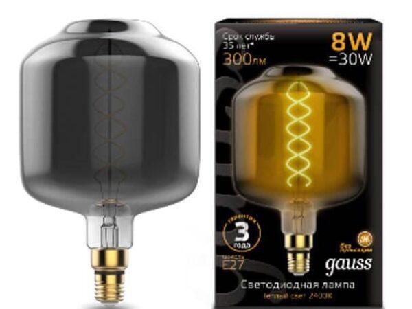 Лампа светодиодная филаментная Gauss E27 8W 2400K серая 164802008