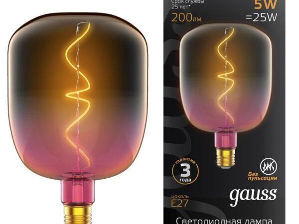 Лампа светодиодная филаментная Gauss E27 5W 1800K розовая 1010802105